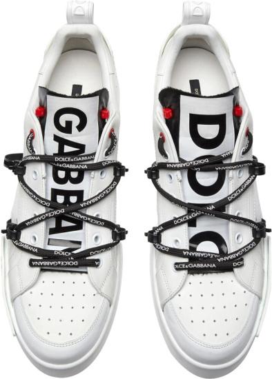 Dolce Gabban Patent Tongue White Portofino Sneakers