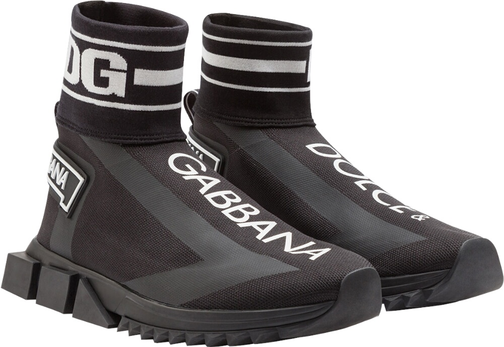 Dolce Gabbana Sorrento High Top Sneakers In Stretch Mesh With Logo