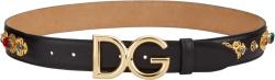 Dolce Gabbana Black Cintura Gioiello Cuoio Belt