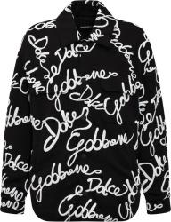 Dolce Gabbana Black And White Allover Logo Overshrit Jacket