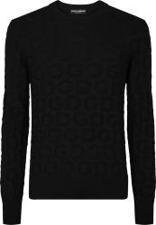 Dolce Gabbana Black Dg Jacquard Sweater