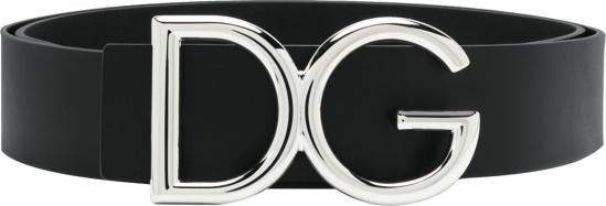 Dolce Gabbana Black Dg Leahter Belt