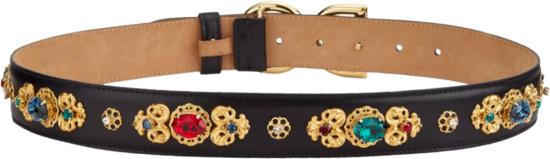 Dolce Gabbana Black Embroidered Embellished Dg Belt