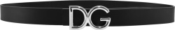 Dolce Gabbana Black Leather And Silver Dg Logo Belt