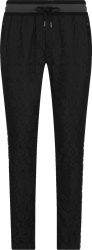 Dolce Gabbana Black Logo Jacquard Trackpants