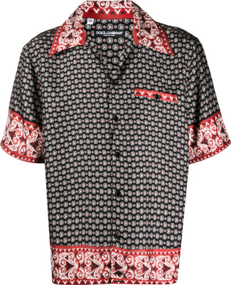 Dolce Gabbana Black Red Bandana Shirt