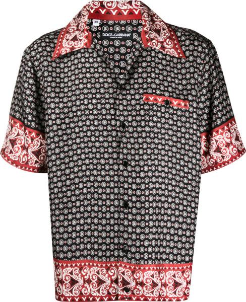 Dolce Gabbana Black Red Bandana Shirt