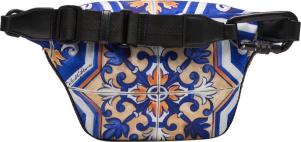 Dolce Gabbana Blue And Gold Maiolca Tile Print Belt Bag