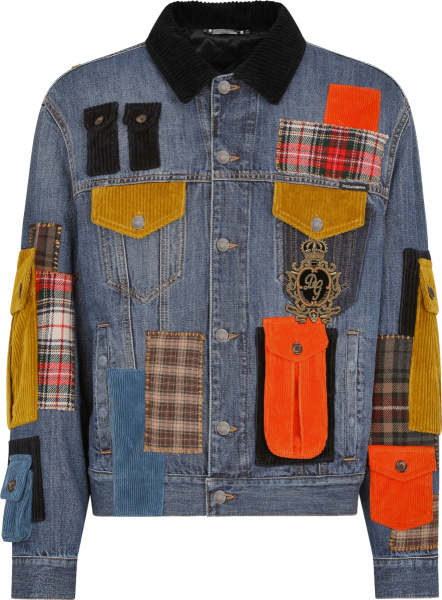 Dolce Gabbana Blue Denim And Multicolor Cargo Pocket Jacket
