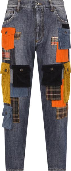 Dolce Gabbana Blue Denim And Multicolor Cargo Pocket Jeans