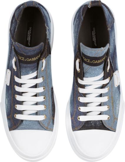 Dolce Gabbana Blue Denim Patchwork Portofino Sneakers