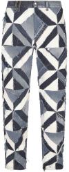 Dolce Gabbana Blue Geometric Patchwork Jeans