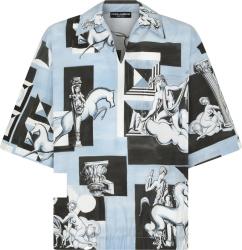 Dolce Gabbana Blue Geometric Patchwork Printed Tunic Shirt G5ir4thp543hb1ub