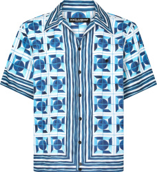 Dolce Gabbana Blue Majolica Geometric Print Shirt