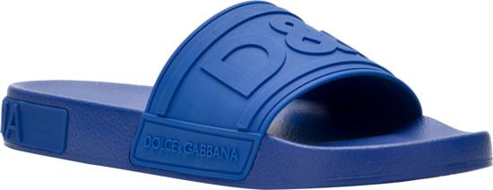 Dolce Gabbana Blue Rubber Slides