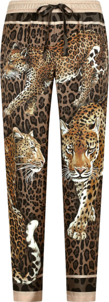 Dolce Gabbana Brown Leopards Print Silk Pajama Pants
