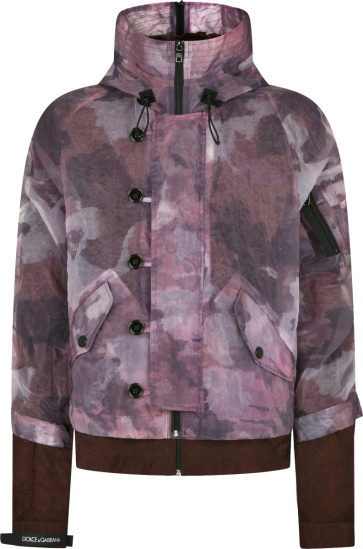 Dolce Gabbana Burgundy Camouflage Layered Jacket