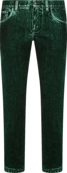 Dolce Gabbana Green Garment Dyed Jeans Gyd2ltg8cv3v9524