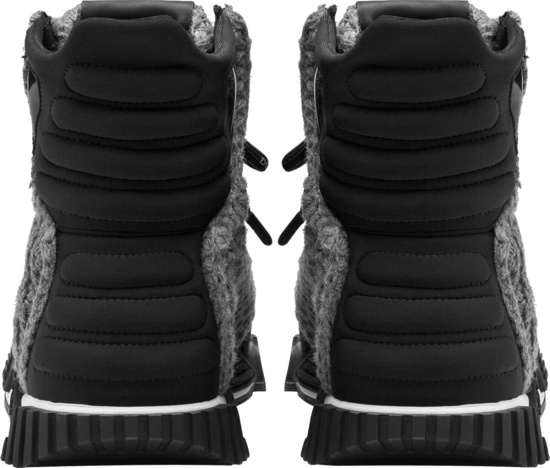 Dolce Gabbana Grey Knit High Top Sneakers Boots