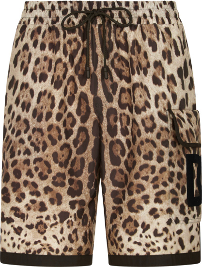 Dolce Gabbana Leopard Print Cargo Shorts