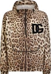 Dolce Gabbana Leopard Print Dg Logo Anorak Jacket
