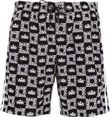 Dolce Gabbana Logo Grid Print Swim Shorts