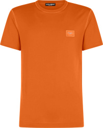 Dolce Gabbana Orange Logo Patch T Shirt