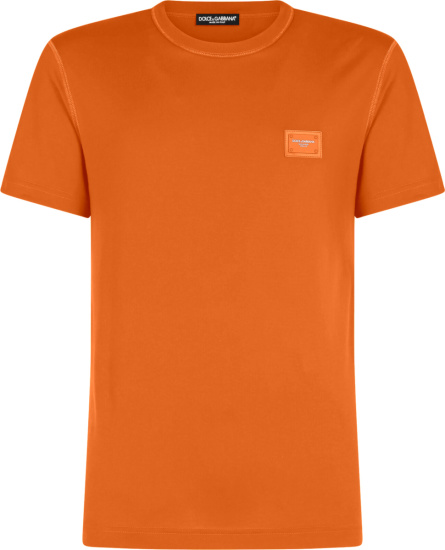 Dolce Gabbana Orange Logo Patch T Shirt