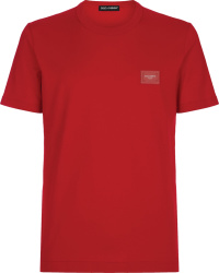 Dolce Gabbana Red Logo Plaque T Shirt