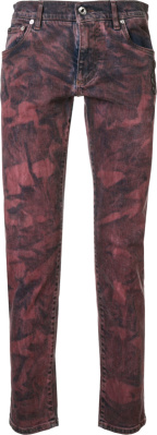 Dolce Gabbana Red Tie Dye Crest Patch Jeans