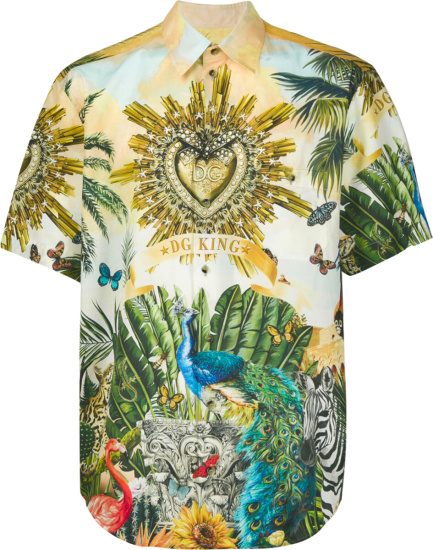 Dolce Gabbana Tropical Dg King Print Shirt