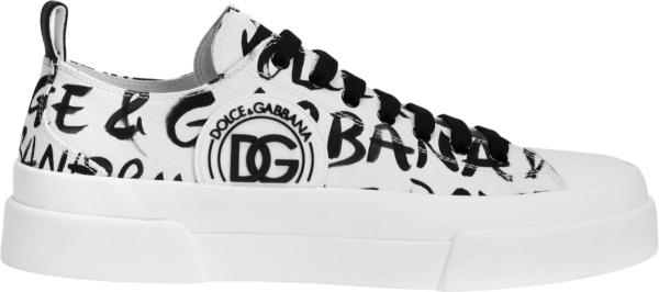 Dolce Gabbana White And Allover Black Graffiti Logo Low Top Portofino Sneakers