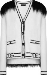 Dolce Gabbana White And Black Fur Cardigan