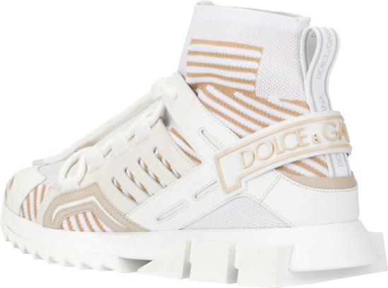 Dolce Gabbana White And Gold Sorrentino Trekking Sneakers