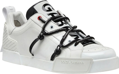 Dolce Gabbana White And Patent Portofino Sneakers