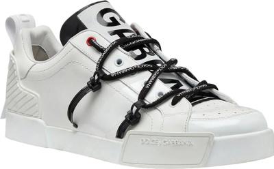Dolce Gabbana White And Patent Portofino Sneakers