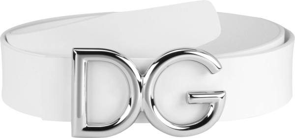 Dolce Gabbana White Leather And Silver Dg Logo Buckle Belt