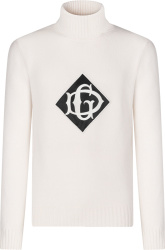 Dolce Gabbana White Logo Patch Turtleneck Sweater