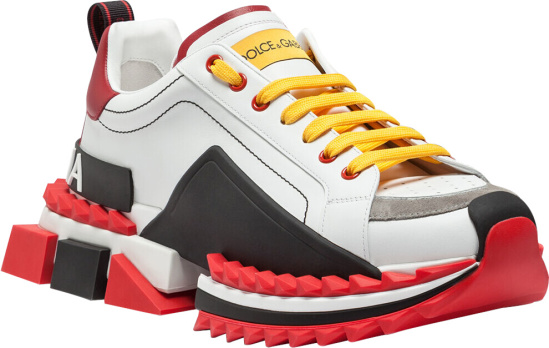 Dolce Gabbana White Red Black Super King Sneakers