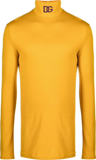 Dolce Gabbana Yellow And Purple Logo Turtleneck
