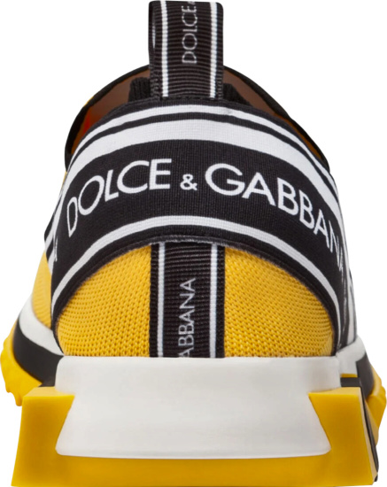 Dolce Gabbana Yellow Snlip On Sneakers