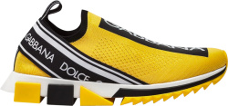Dolce Gabbana Yellow Sorrento Slip On Sneakers
