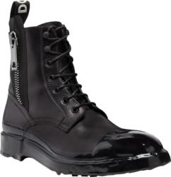 Zip Detail Black Combat Boots