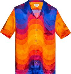 Dries Van Noted Orange Blue Carlton Wave Shirt