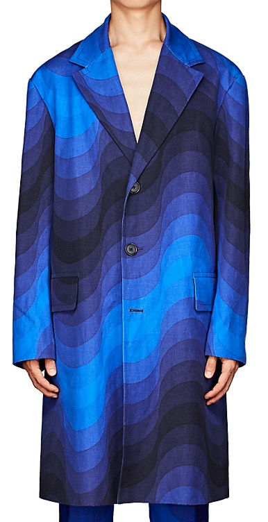 Dries Van Noten Blue Wave Three Button Coat Worn By French Montana