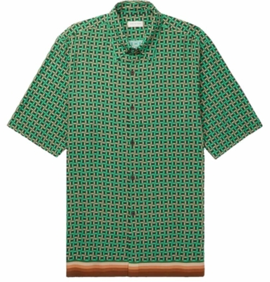 Dries Van Noten Green Geometric Patterened Shirt