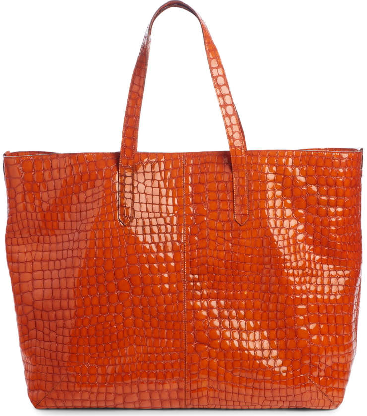 Dries Van Noten Orange Croc Embossed Leather Tote