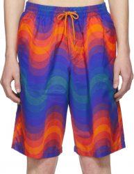 60eac07847 Dries Van Noten. Blue and Orange Wave Print Swim Shorts