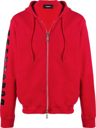 Dsquared 2 Red Sleeve Logo Hoodie
