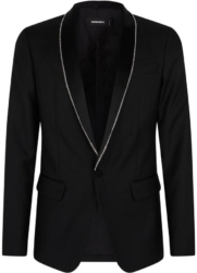 Dsquared2 Black Jacket With Crystal Trim Collar
